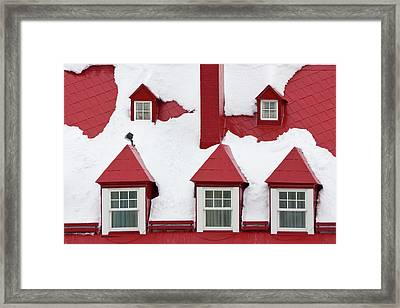 Old Houses, Red Roof And Window Covered Framed Print by Keren Su