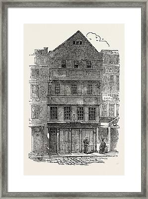 Old Houses With Overhanging Stories, Gabled Fronts Framed Print by English School