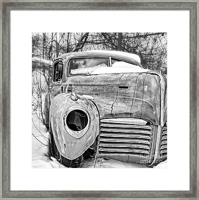 Old Hudson In The Snow Black And White Framed Print by Edward Fielding