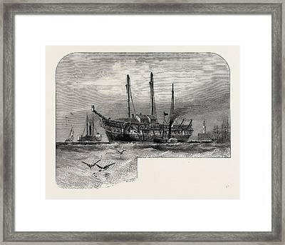 Old Hulk In The Thames, Scenery Of The Thames Framed Print by English School