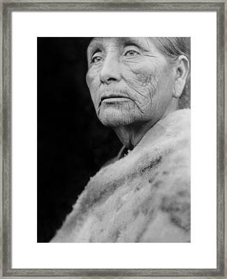 Old Hupa Woman Circa 1923 Framed Print by Aged Pixel