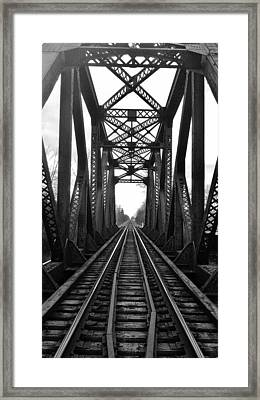 Old Huron River Rxr Bridge Black And White  Framed Print