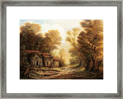 Old Huts In The Forest Framed Print