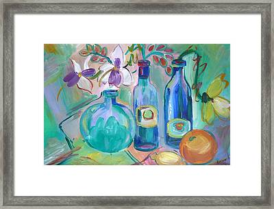 Old Hyacinth Bottle Framed Print by Brenda Ruark