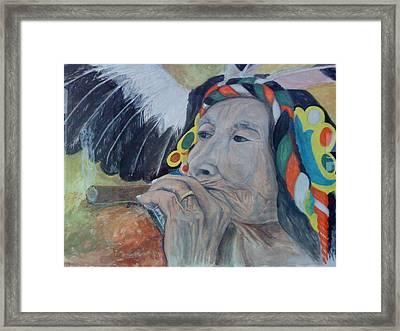 Old Indian Woman Framed Print by Gani Banacia