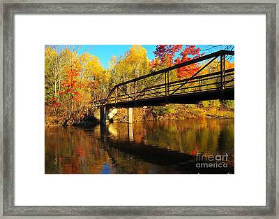 Framed Print featuring the photograph Historic Harvey Bridge Over Manistee River In Wexford County Michigan by Terri Gostola