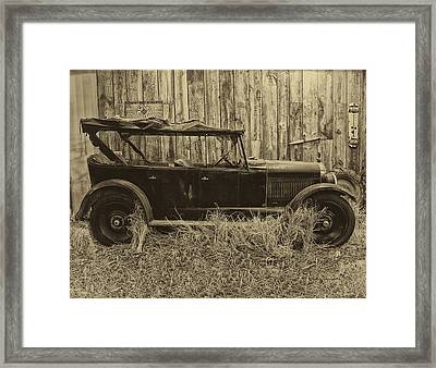 Old Jalopy Behind The Barn Framed Print by Thomas Woolworth
