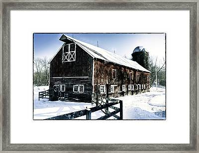 Old Jersey Farm In Winter Framed Print by George Oze