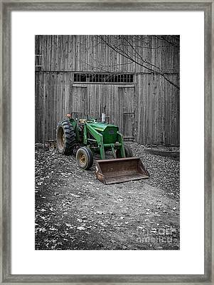 Old John Deere Tractor Framed Print by Edward Fielding