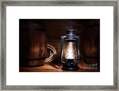 Old Kerosene Lantern Framed Print by Olivier Le Queinec