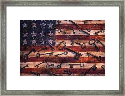 Old Keys On American Flag Framed Print by Garry Gay