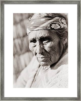 Old Klamath Woman Circa 1923 Framed Print by Aged Pixel