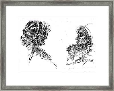 Old Ladies Talking Framed Print