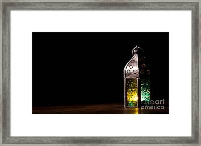 Old Lantern With Candle Framed Print