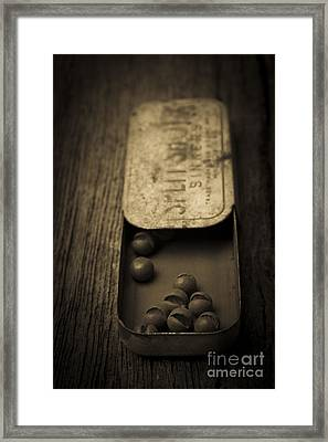 Old Lead Fishing Sinkers In Tin Framed Print