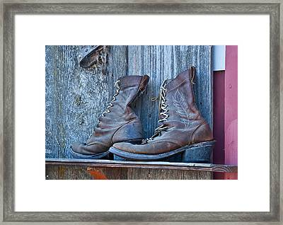 Old Leather Boots Still Life Framed Print