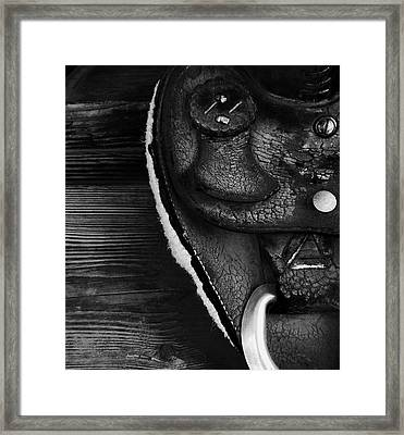 Old Leather - Vintage Saddle In Black And White Framed Print by Steven Milner
