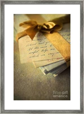 Old Letters And A Golden Ribbon Framed Print by Jaroslaw Blaminsky