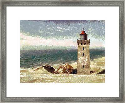 Framed Print featuring the painting Old Lighthouse by Georgi Dimitrov