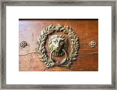 Old Lion Head Doorknocker In Prague Framed Print