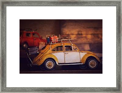 Old Little Yellow Car Framed Print by Maria Angelica Maira