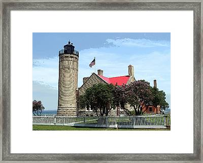 Old Mackinac Point Light Framed Print by Terri Harper