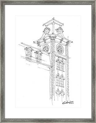 Framed Print featuring the drawing Old Main Study by Calvin Durham