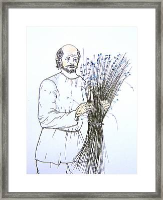 Old Man And Flax Framed Print by Marwan George Khoury