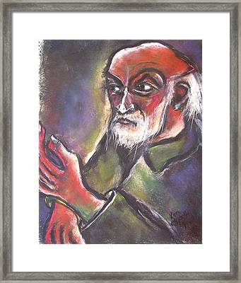 Old Man Balding With Raised Left Hand Framed Print by Kenneth Agnello