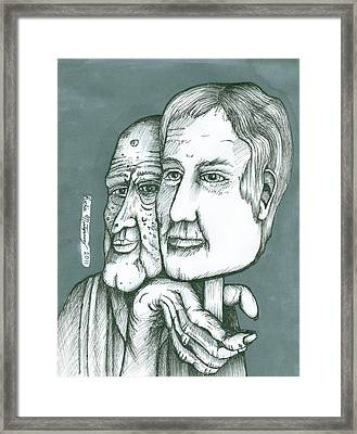 Old Man Behind A Young Mans Face Framed Print by Richie Montgomery