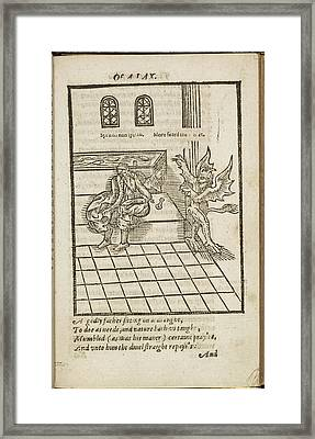 Old Man Bing Startled By A Demon Framed Print by British Library