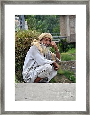 Old Man Carrying Fodder Swat Valley Kpk Pakistan Framed Print by Imran Ahmed