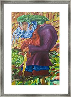 Old Man Collecting Sticks - But Not On The Sabbath Framed Print
