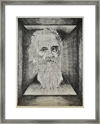 Old Man Head In Box Framed Print by Glenn Calloway