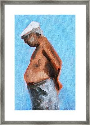 Old Man On The Beach Framed Print by Nancy Merkle