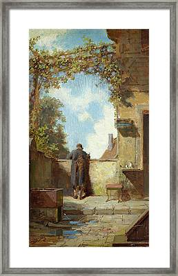 Old Man On The Terrace Framed Print by Carl Spitzweg