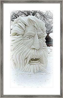 Old Man Winter Snow Sculpture Framed Print