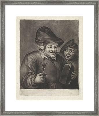 Old Man With A Bottle And A Glass Version Framed Print by Jan Van Der Bruggen