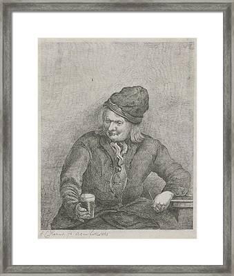 Old Man With Glass And Pipe In Hand, Eberhard Cornelis Rahms Framed Print by Eberhard Cornelis Rahms