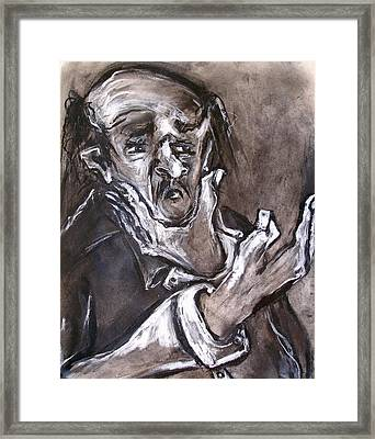 Old Man With Hand To Chin Framed Print by Kenneth Agnello