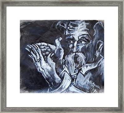 Old Man With Messianic Hands Framed Print by Kenneth Agnello
