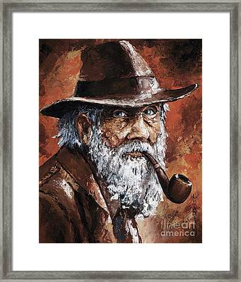 Old Man With Pipe Framed Print