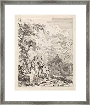 Old Man, Woman And Child On A Forest Path Framed Print