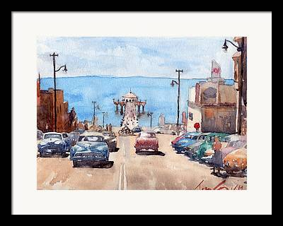 Blue Buick Framed Prints