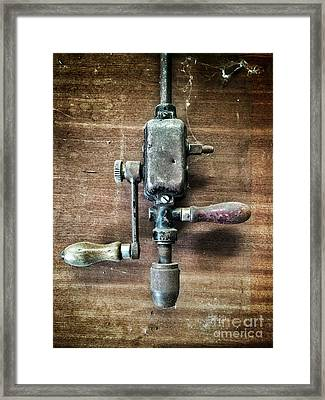 Old Manual Drill Framed Print by Carlos Caetano