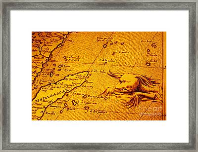 Old Map Of Africa Madagascar With Sea Monster Framed Print by Colin and Linda McKie