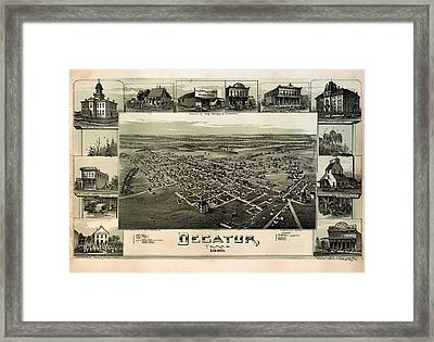 Old Map Of Decatur Texas 1890 Framed Print by Mountain Dreams