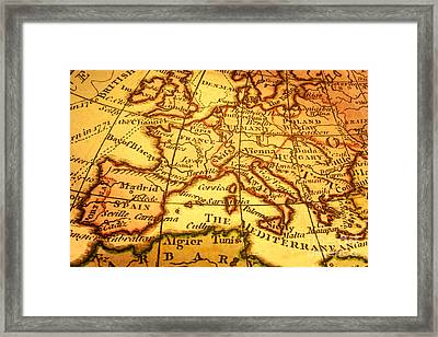 Old Map Of Europe And Mediterranean Framed Print by Colin and Linda McKie