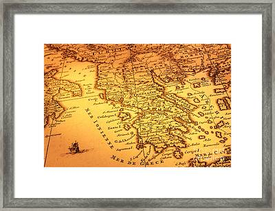 Old Map Of Greece Framed Print by Colin and Linda McKie