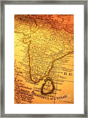 Old Map Of India And Sri Lanka Framed Print by Colin and Linda McKie